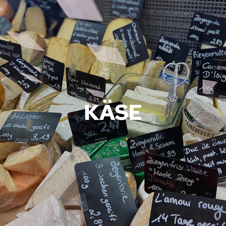 Sie finden bei uns eine große Auswahl an Kuh-, Schaf- und Ziegenkäse. Unsere ausgewiesene Käseexpertin berät Sie gerne und lässt Sie auch gerne das ein oder andere Stück probieren. Auch versuchen wir immer wieder, neue Käsesorten (kleinerer Käsereien) mit ins Angebot aufzunehmen. Lassen Sie sich überraschen von unsere Vielfalt.